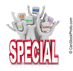 Special word with a team of people cheering with terms like Unusual, Rare, Unique, Different, Uncommon and Distinct