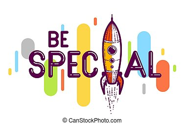 Special word with rocket instead of letter I, vector conceptual creative logo or poster made with special font.