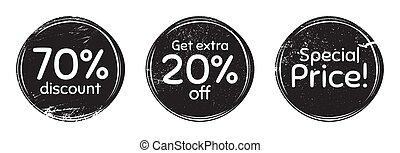 speciale, phrases., vettore, prezzo, extra, scontare, 20%, 70%, spento
