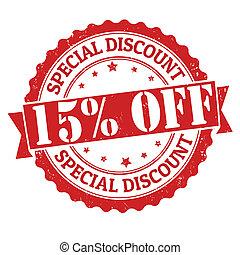 speciale, scontare, 15%, spento, francobollo