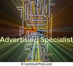 specialist, glödande, begrepp, annonsering, bakgrund