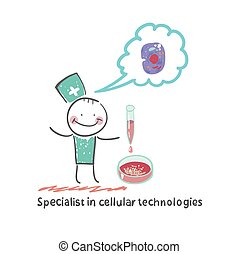 Specialist in cellular technology makes watching experiments...