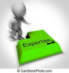 specialist, kunskap, kunnighet, expertis, tangentbord, visar