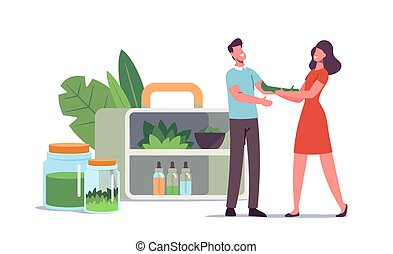 Specialist of Traditional Medicine Giving Herbal Remedy to Patient. Female Doctor Character Prepare Ayurvedic Alternative Drugs of Plants and Natural Ingredients. Cartoon People Vector Illustration