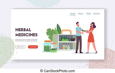 Specialist of Traditional Medicine Giving Herbal Remedy to Patient Landing Page Template. Female Doctor Character Prepare Drugs of Plants and Natural Ingredients. Cartoon People Vector Illustration