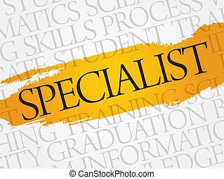 SPECIALIST word cloud, education business concept