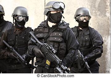 specializált, rendőrség, egység