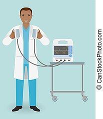 specialization., 彼の, 緊急事態, 医者, 医学, influence., 手, employee., 準備ができた, defibrillator