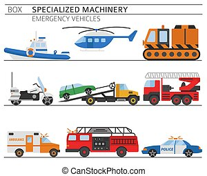 Specialized machines, emergency vehicles colour vector icon set isolated on white