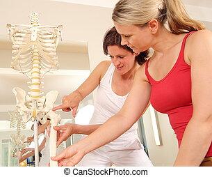 speciallæge, forklar, den, hofte, til, en, patient