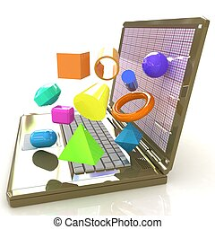 specially, 笔记本电脑, 强大, 制图法, 软件, 3d