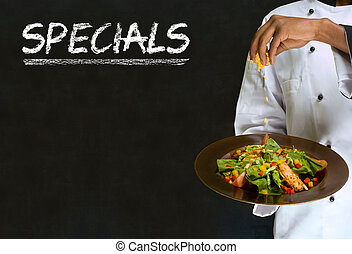 specials, femme, tableau noir, chef cuistot, signe, craie, américain, fond, africaine