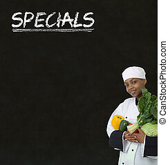 specials, kobieta, tablica, mistrz kucharski, znak, kreda, amerykanka, tło, afrykanin