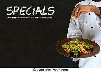 specials, kvinna, blackboard, kock, underteckna, krita, ...