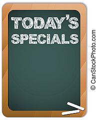 specials, tableau noir, craie, écrit, today's, message