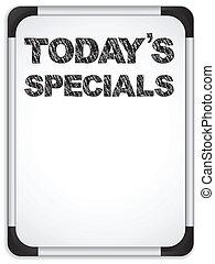 specials, whiteboard, krijt, geschreven, today's, boodschap