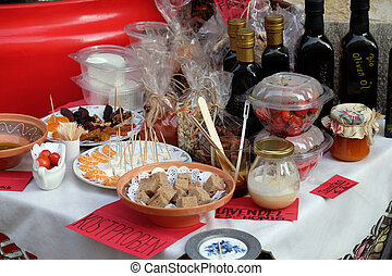 Specialties from the island of Hvar in Croatia exposed in...
