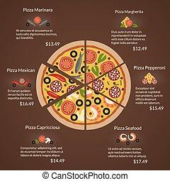 specie, appartamento, differente, ingredienti, fette, stile, vettore, rotondo, pizza