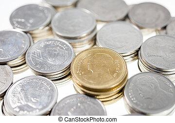 specie, soldi, monete, isolare, bagno, tailandese