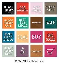 speciell, baner, produkter, svart, fredag, 16, sätta, pris