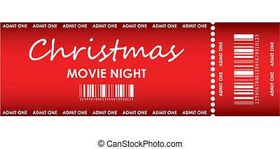 speciell, natt, film, jul, biljett, röd