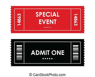 speciell, red-black, händelse, biljett