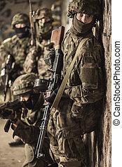 speciell tvingar, tjäna som soldat, under, militär, manöver