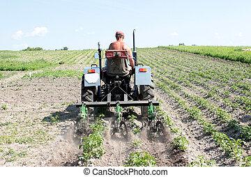 specielle, udrustning, på, en, traktor, by, cigarettet, ind,...