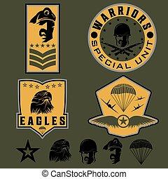 specielle, unit, militær, emblem, sæt, vektor, konstruktion, skabelon