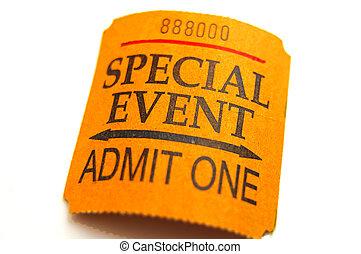 speciellt evenemang, biljett, närbild, isolerat, vita