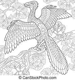 species., éteint, dinosaur., archeopteryx
