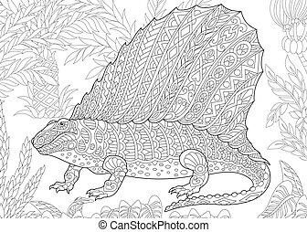 species., éteint, dinosaur., dimetrodon