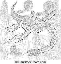 species., éteint, dinosaur., plesiosaurus