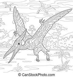 species., pterodactyl, éteint, dinosaur.