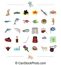 Species, sea, animal and other icon in cartoon style. Scotland, country, tradition icons in set collection.