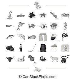 Species, sea, animal and other icon in monochrome style. Scotland, country, tradition icons in set collection.