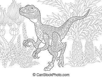 species., velociraptor, estinto, dinosaur.