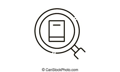 specific book target Icon Animation. black specific book target animated icon on white background
