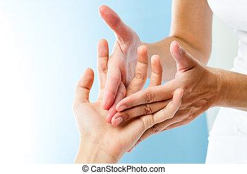 specificera, av, räcker, massera, hand.