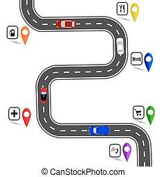 specifies, arrêts, enroulement, signs., illustration, sentier, navigator., route