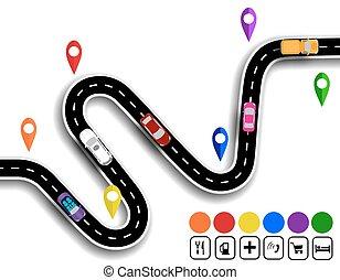 specifies, cars., illustration, enroulement, signs., sentier, navigator., route, mouvement