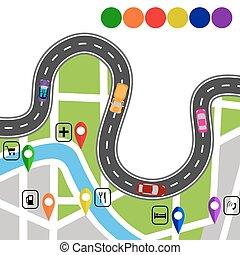 specifies, illustration, enroulement, infographics., signs., sentier, navigateur, route