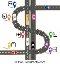 specifies, image., amusant, illustration, enroulement, signs., sentier, navigator., route