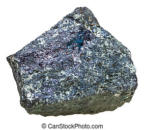 specimen of Bornite (peacock ore) stone isolated