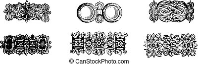 Specimens chains seventeenth century, vintage engraved illustration. Industrial encyclopedia E.-O. Lami - 1875.