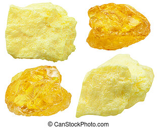 set of various natural mineral stones - specimens of native Sulfur ( sulphur, brimstone) stone isolated on white background