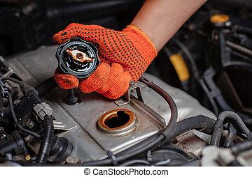 specjalista, robotnik automobilu, w wozie, service.