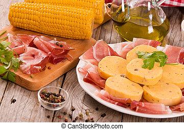 Speck ham and polenta.
