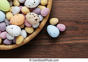 Speckled chocolate easter eggs in a basket - Still life...