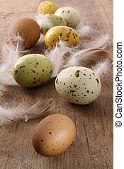 Speckled easter eggs  on wooden table